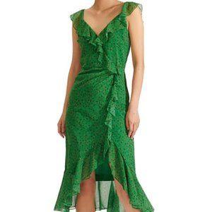 Veronica Beard Amal Ruffle Trim Silk Dress NWT 12